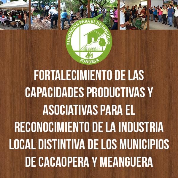 Fortalecimiento de las capacidades productivas y asociativas para el reconocimiento de la Industria Local Distintiva de los municipios de Cacaopera y Meanguera